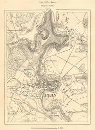 Bern Berne Environs Switzerland Sketch Map 1885 Old Antique Plan Chart