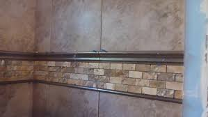 pencil tile trim metal inserts for backsplash subway with accent band ideas gl bathroom vertical in