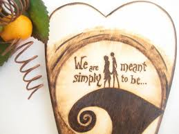 Jack and Sally wedding cake topper, the Nightmare before Christmas,  Halloween Wedding, Silhouette Pyrography, personalized, gift for couple