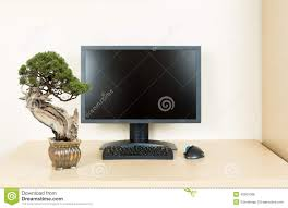 small bonsai tree on plain office desk with monitor bonsai tree office table
