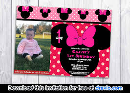 Free Minnie Mouse Birthday Invitations Free Minnie Mouse Polka Dot 1st Birthday Invitation