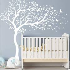 popeven nursery bedroom wall sticker white tree and flying birds blossom tree wall decal nursery tree mural for kids room left face all white