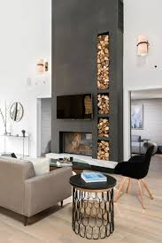 This modern living room turns its firewood storage into an eye ...