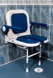 luxury fold up horseshoe shower seat with back and arms
