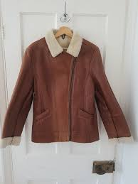 genuine lakeland leather women s sheepskin lined brown leather jacket vguc size 12
