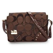 Coach Stud In Signature Medium Coffee Crossbody Bags AYX Outlet Online