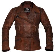 3 4 long demi brown womens biker jacket