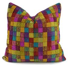 Etsy Throw Pillows Purple Gold Red Teal Chartreuse Chenille Throw Pillow Cover