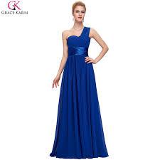 Grace Karin Royal Blue Evening Dress Chiffon Elegant Robe De Soiree Long One Shoulder Formal Gowns Evening Wedding Party Dresses In Evening Dresses