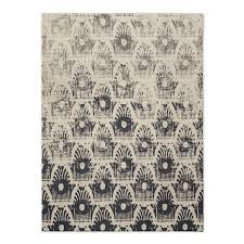 strikingly black and white wool rug distressed floating ikat west elm
