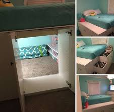 Use kitchen cabinets to loft bed, but keep the back out of one of them