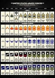 Navy Military Rank Chart Amazon Com Us Military Ranks Large Poster Print Army Navy