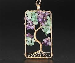 details about women rectangle tree of life copper wire wrap gemstone chip bead pendant jewelry