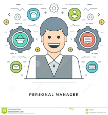Personal Manager Job Description Flat Line Personal Manager Concept Vector Illustration Stock Vector