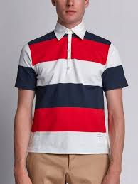 short sleeve polo with 4 bar stripe in blue and red rugby stripe