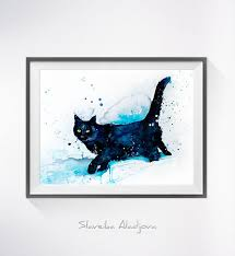 black cat watercolor painting print