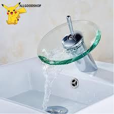 Sink Round Glass Waterfall Faucet <b>Brass</b> Chrome Basin Faucet ...