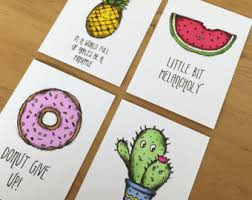 cute pineapple drawing. aceo full set original hand drawn illustration drawing cute quotes funny gift watermelon, cactus, pineapple