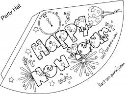 Small Picture Print out happy new year party hat coloring for kids Printable