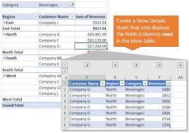 Only Display Used Fields On Pivot Table Show Details Sheet