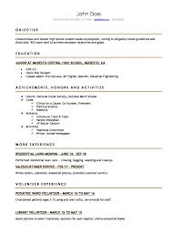Job Resume Template Examples Of Resumes For Highool Students