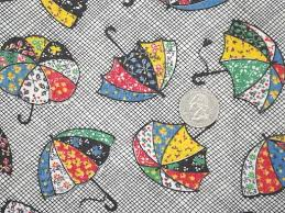 vintage print cotton quilting fabric w/ bright vintage umbrellas &  Adamdwight.com