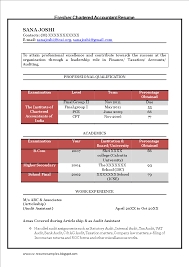 Chartered Accountant Resumes Fresher Chartered Accountant Resume Templates At