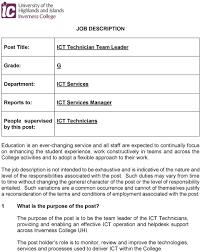 Job Description Ict Technician Team Leader Grade People