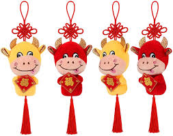 According to the chinese zodiac, 2021 is the year of the ox. Amazon Com Skylety 4 Pieces 2021 Chinese New Year Ox Ornament Good Luck Red Cattle Plush Lucky Cow Decorations Chinese New Year Zodiac Animals Mascot Toys Cattle Party Decorations Home Kitchen