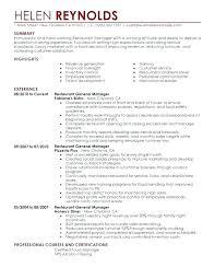 Assistant Manager Resume Restaurants Manager Resume Restaurant