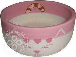Купить <b>Миска для животных Foxie</b> Pink Cat розовая керамическая ...