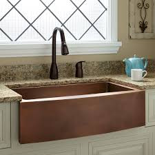 Kitchen Curved Front Copper Apron Sink And Faucets Also Granite