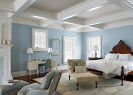 ... Stylish light ceiling, cool blue walls and dark flooring offer lovely  contrast to this weekend