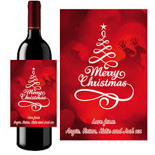 Wine Bottle Stickers Personalised Christmas Prosecco Wine Bottle Label 022