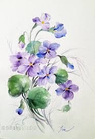 wild violet flowers violet painting february birthday flower february gift original painting