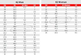 Hockey Roller Blades Size Chart K2 Skates Size Chart