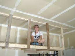 build your own garage ceiling storage hanging overhead storage overhead hanging storage bring on the stuff