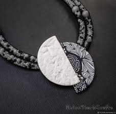 black and white necklace pendant polymer clay