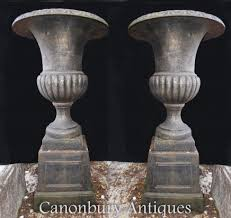 pair garden urns english cast iron