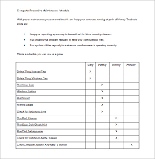 Maintenance Schedule Template 21 Free Sample Example Format
