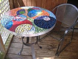 round mosaic table stained glass mosaic table top multi color colorful by via mosaic tile table round mosaic table