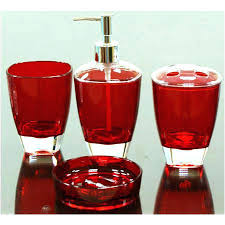 red glass bathroom accessories. Red Bathroom Decor Set  Accessories Tractor Red Glass Bathroom Accessories M