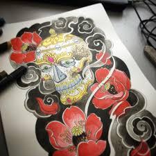 сделать татуировку тибетский череп на нога в городе москва по