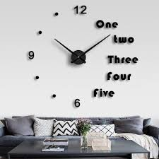 diy household silent large wall clock 3d stickers living room decoration