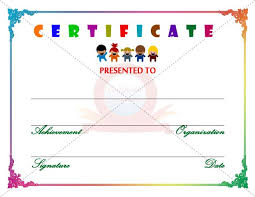 Kids Completion Certificate Template Davoodi Info Template