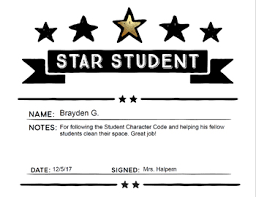 Star Student Certificates Star Student Award Certificate Template