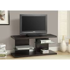 Monarch Specialties I 2555 48 Inch Wide TV Stand With Tempered Glass  Shelves  Cappuccino Inch Wide Tv Stand S36