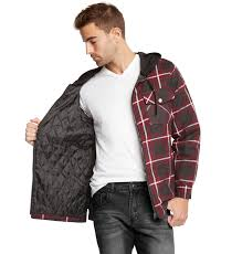 9 Crowns Mens Quilted Lightweight Plaid Flannel Hoodie Jacket | eBay & 9-Crowns-Mens-Quilted-Lightweight-Plaid-Flannel-Hoodie- Adamdwight.com