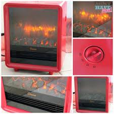 crane red fireplace heater