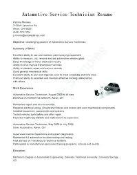 Auto Mechanic Resume Templates Sample Resume Automotive Technician Sample Resume For Auto Mechanic